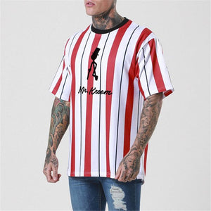 Casual Round Neck Strip Printed Short Sleeves T-Shirt - yatacity