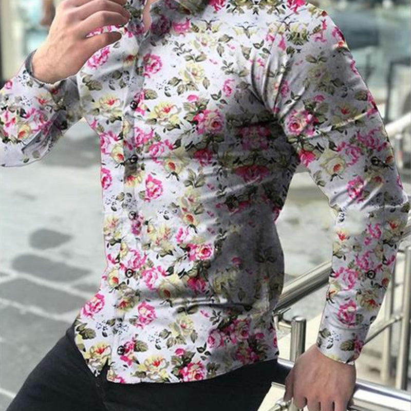 Men's Casual Long Sleeve Flower   Shirt - yatacity