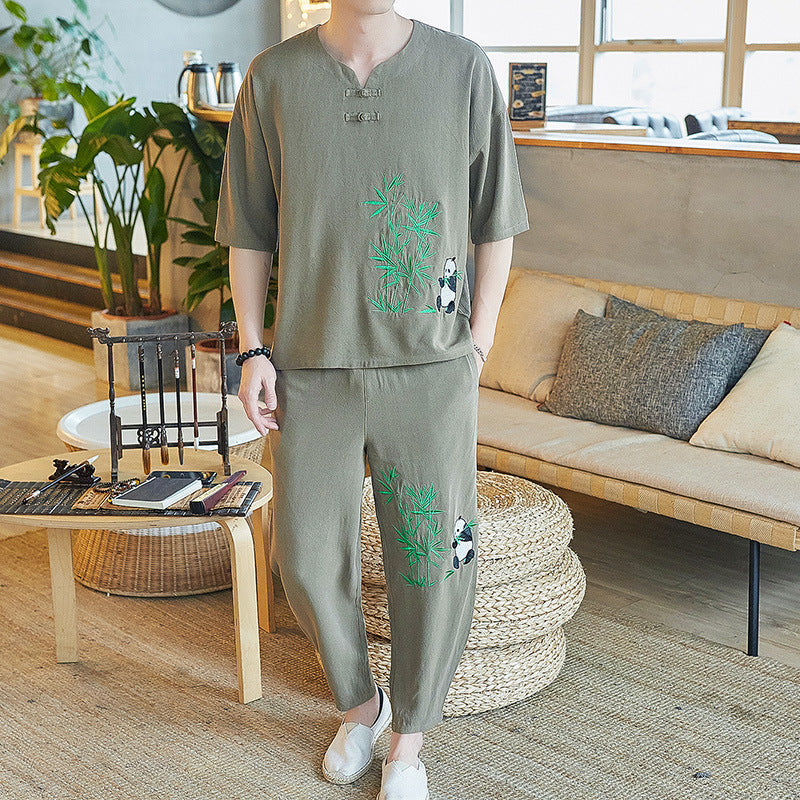 Men's Casual Bamboo Printed Short Sleeve Suit - yatacity