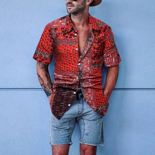 Men's Casual Individuality Floral Pattern Short Sleeve Blouse - yatacity