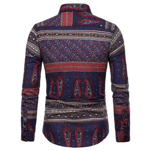 Men's Casual Fashion Printed Pattern Blouse - yatacity