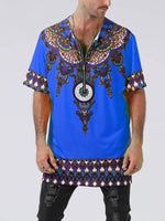 Men's Casual V Neck Printed Loose T-Shirt - yatacity