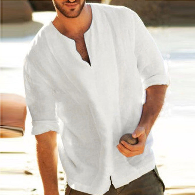 Men's Casual Simple V Neck Loose Flax T-Shirt - yatacity