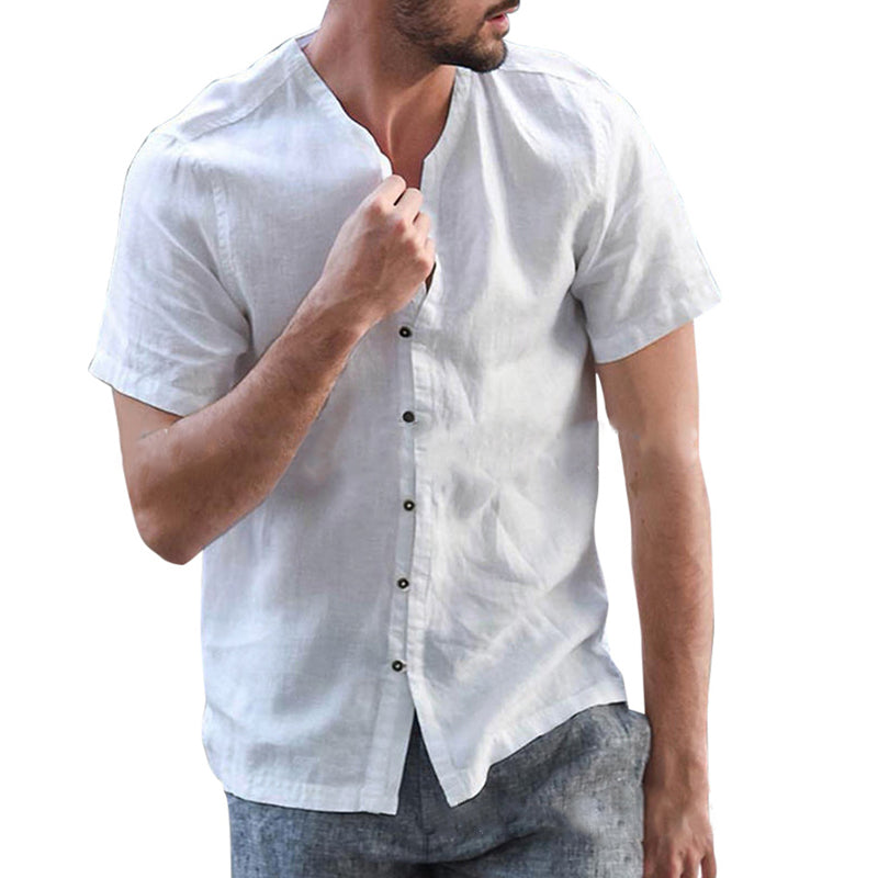 Men's Casual Flax Thin Section Short Sleeve Blouse - yatacity