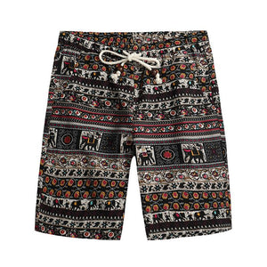 Men's Casual Printed Colour Beach Loose Straight Shorts - yatacity
