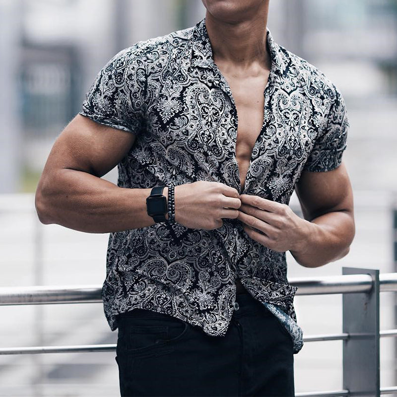 Men's Fashion Printing Turndown Collar Loose Blouse - yatacity