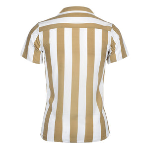 Fashion Contrast Color Stripe Slim Fit Blouse - yatacity