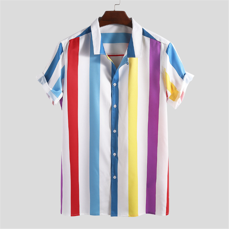 Summer Casual Striped   Lapel Short Sleeve Shirt - yatacity