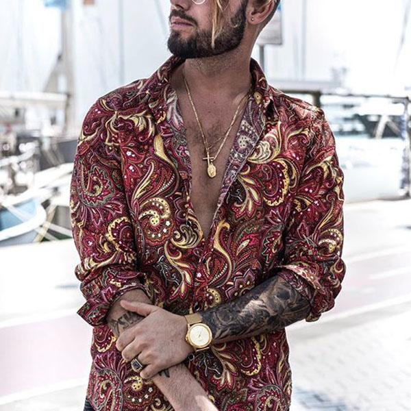 Men's Fashion Printed Lapel Long Sleeve Shirt - yatacity