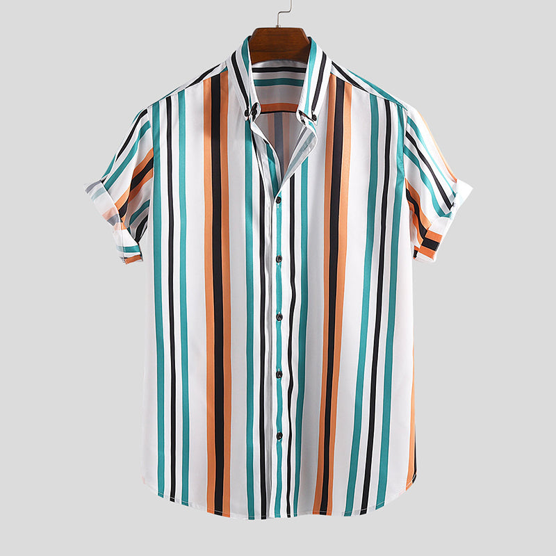 Fashion Contrast Color Stripe Short Sleeve Shirt - yatacity