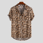 Fashion Leopard Print Short Sleeve Shirt - yatacity