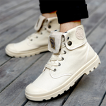 Men's Fashion Breathable High-Top Canvas Casual Shoes - yatacity
