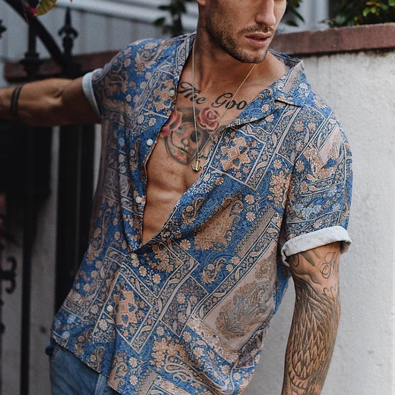 Fashion Printed Lapels Short Sleeve Shirts - yatacity