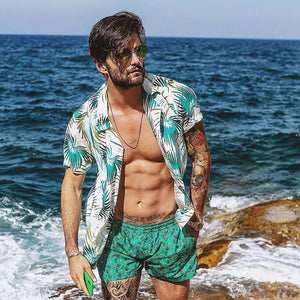 Fashion Men's Summer Beach Print Short Sleeve Lapel Holiday Shirt - yatacity
