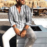 Casual Stripe V Neck Pullover Shirt - yatacity