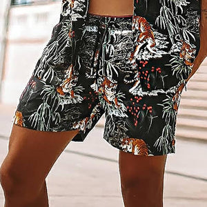 Vintage Printed Slim Fit Short Sleeve Shirt Two-Piece Set - yatacity