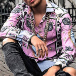Street Fashion Printed Turndown Collar Shirt - yatacity