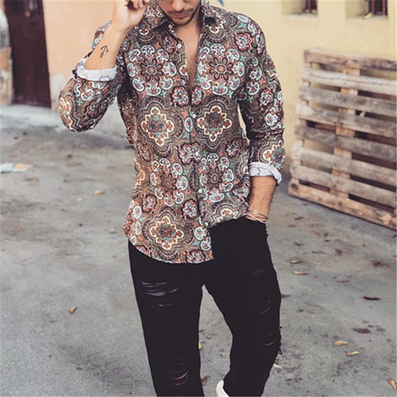 Autumn Men's Casual Print Shirt - yatacity