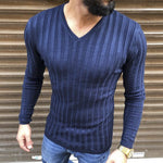 Fashion Solid Color V-Neck Tight-Fitting Long-Sleeved T-Shirts - yatacity