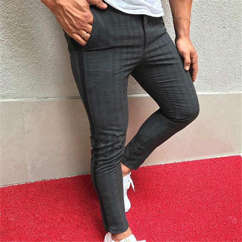 Men's British Plaid Slimming Pencil Pants - yatacity