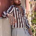 Men's Casual Long-Sleeved Single-Breasted Striped Shirts - yatacity