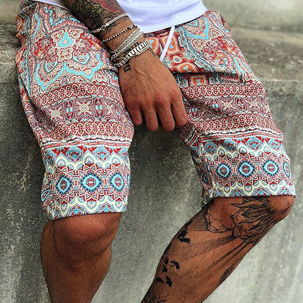 Elastic Waist Fashion Printed Men's Shorts - yatacity