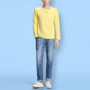 Fashion Casual Round Neck Solid Color Long-Sleeved T-Shirts - yatacity