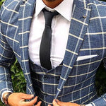 Men's Lapel Long-Sleeved Single-Button Plaid Outerwear - yatacity