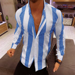 Men's Striped Folded Collar Shirt - yatacity