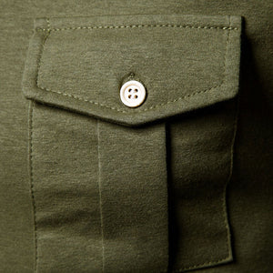 Fashion Fold-Over Collar Pocket Collage Buckle Button Shirts - yatacity