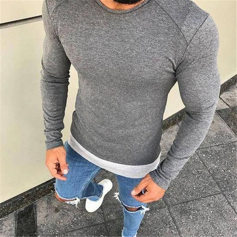 Stylish Slim Solid Color Round Neck Long-Sleeved T-Shirt