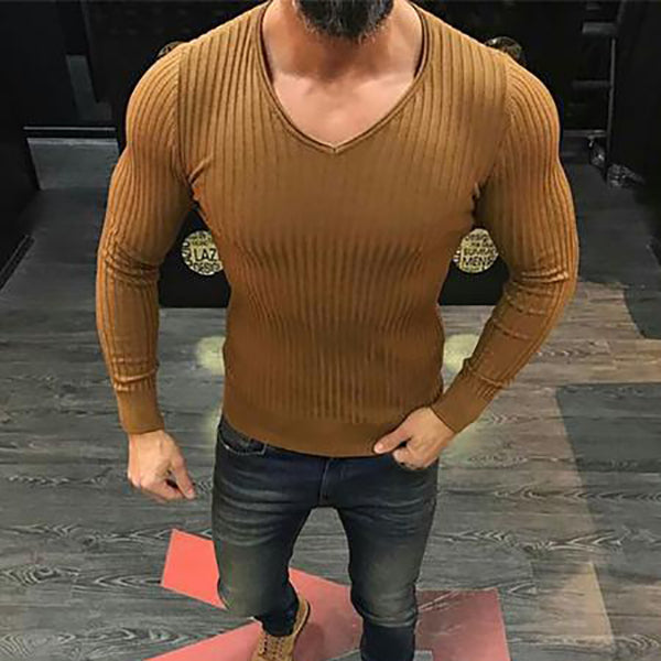 Men's Fashion Stylish Slim Solid Color Striped Tight Shirt - yatacity