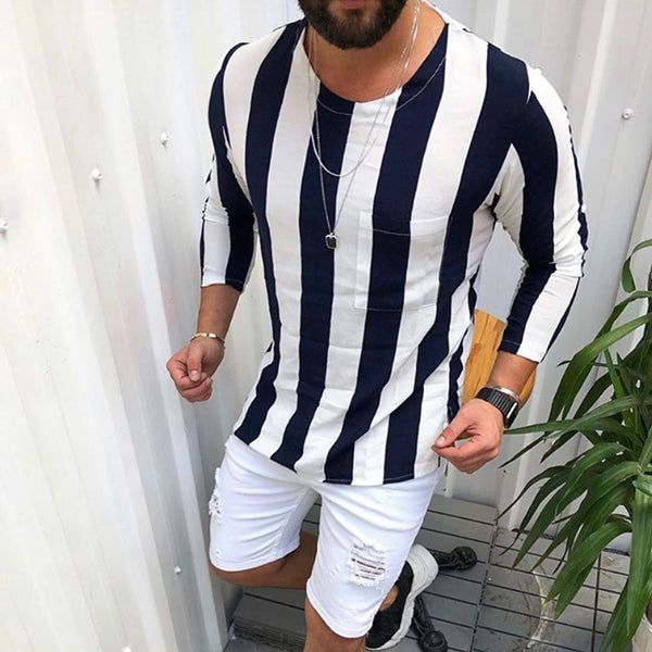Men's Casual Round Collar Long-Sleeved Striped Shirt.