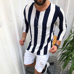 Men's Casual Round Collar Long-Sleeved Striped Shirt. - yatacity
