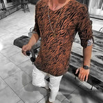 Men's Casual Round Collar Long-Sleeved Zebra Printed T-Shirt