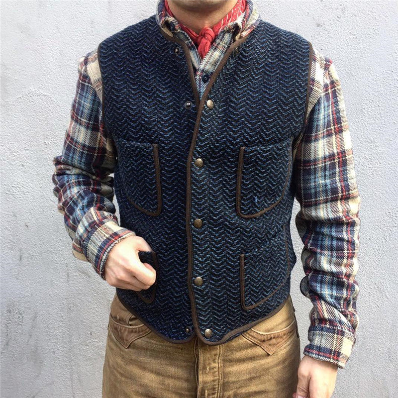 Pocket Single-Breasted Knit Vest - yatacity