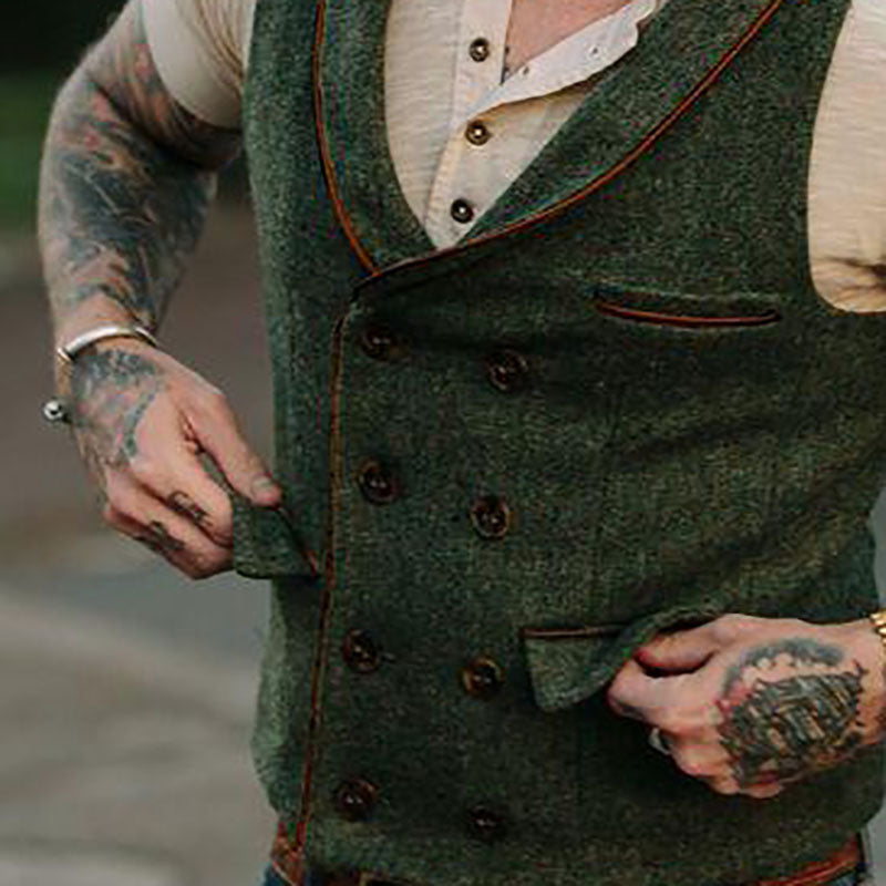Simple Edging Contrast Double-Breasted Vest - yatacity