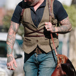Men's Single-Breasted Solid Color Vest - yatacity