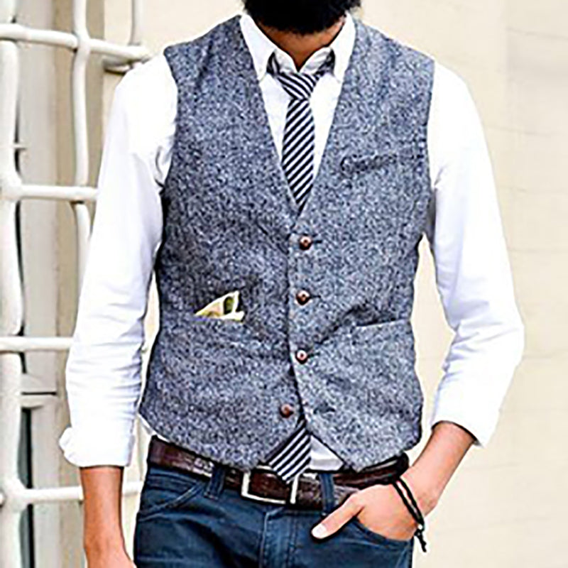 Commuting Double Pocket Single-Breasted Vest - yatacity