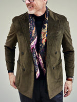 Men's Casual Army Green Double Breasted Corduroy Blazer - yatacity
