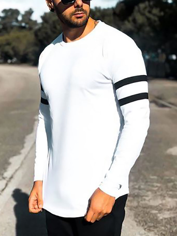 Casual Round Neck Color Block T-shirt - yatacity