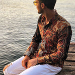 Men's Casual Single-Breasted Long-Sleeved Printed Shirt - yatacity