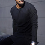 Men's fashion solid color round neck sweater - yatacity