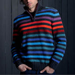 Men's Half Zip Stand Collar Stripe Sweater - yatacity
