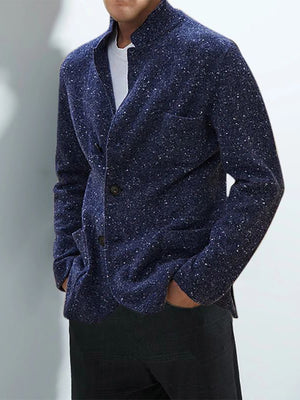 Casual stand collar blue sequin pocket long sleeve knit jacket - yatacity