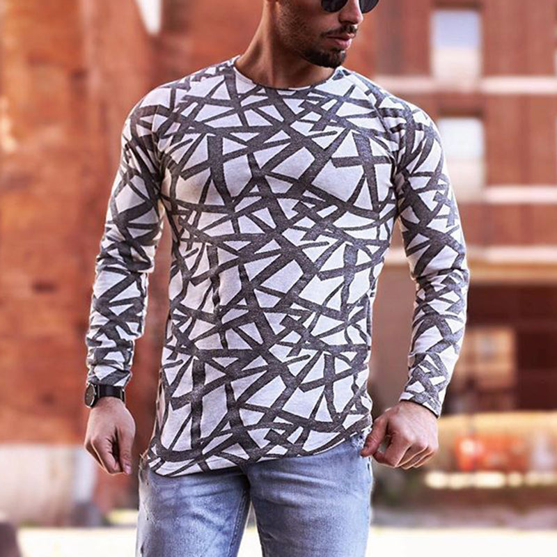 Men's Fashion Round Neck Print Long Sleeve T-Shirt - yatacity