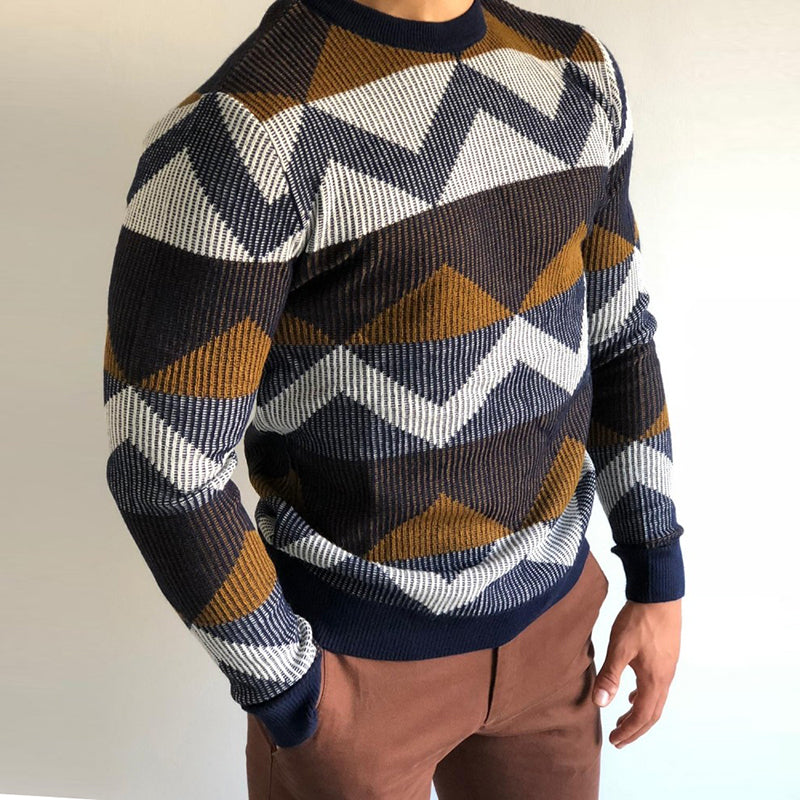 Men's casual and comfortable round neck sweater - yatacity