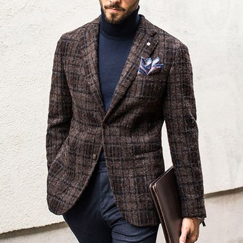 Men's check thick blazer - yatacity