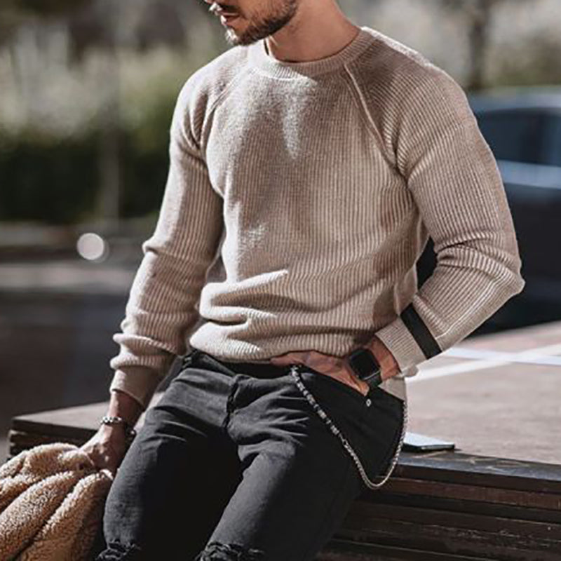Fashion men's solid color sweater - yatacity