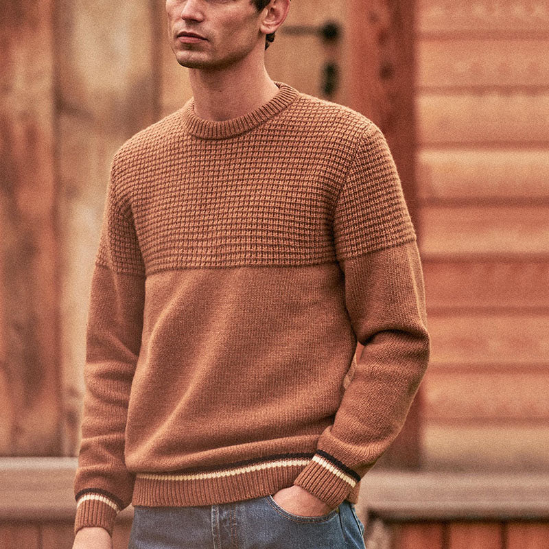 Men's fashion versatile solid color warm sweater - yatacity